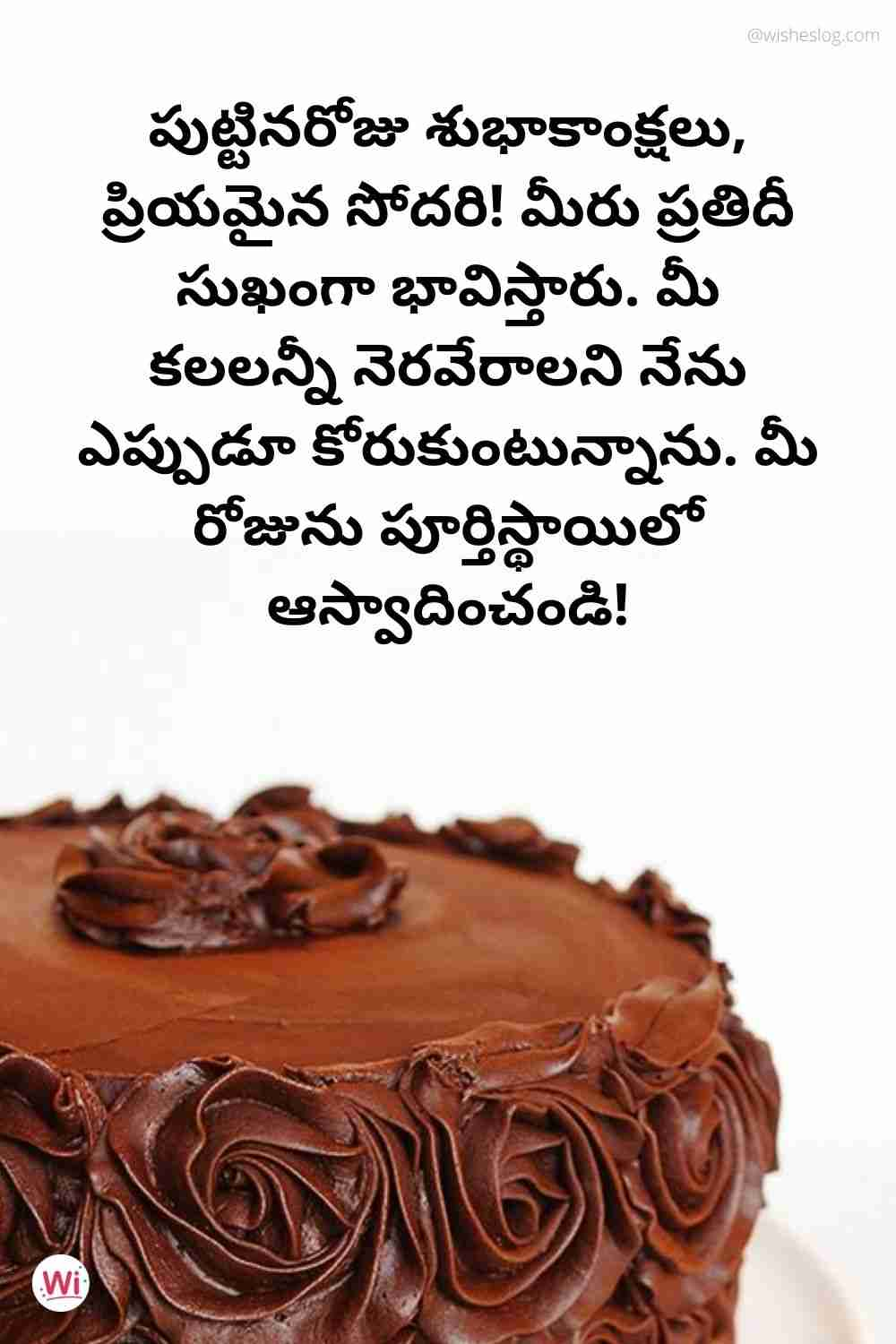 birthday messages in telugu for sister