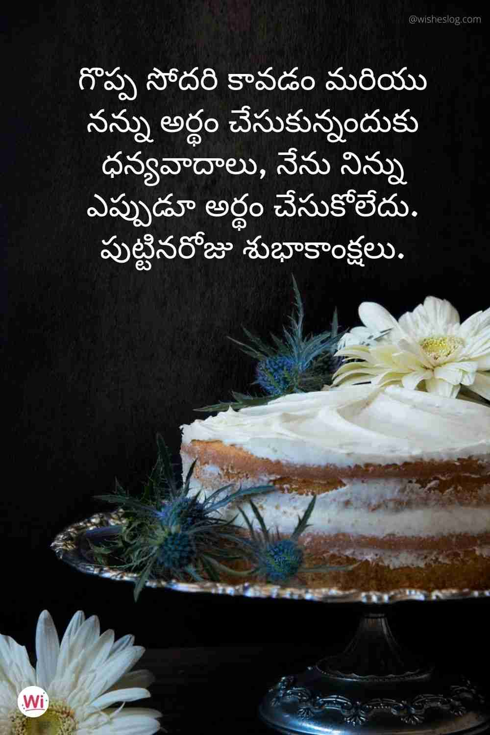 birthday wishes to sister in telugu